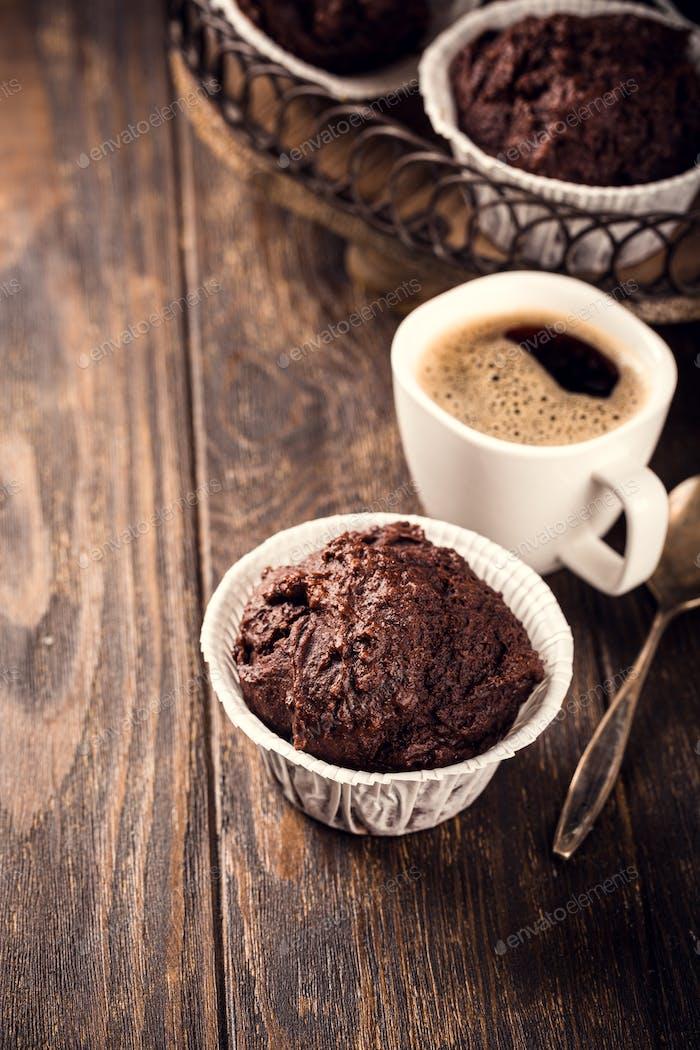 Tasty chocolate banana muffins