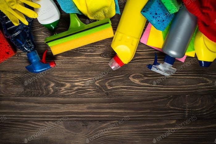 Reinigungsprodukt, Haushalt Holztisch oben Ansicht