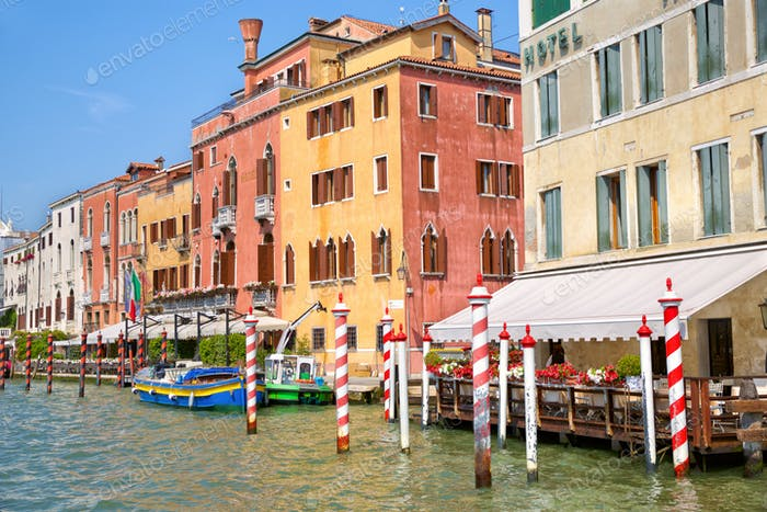 Old houses on Grand Canal in Venice