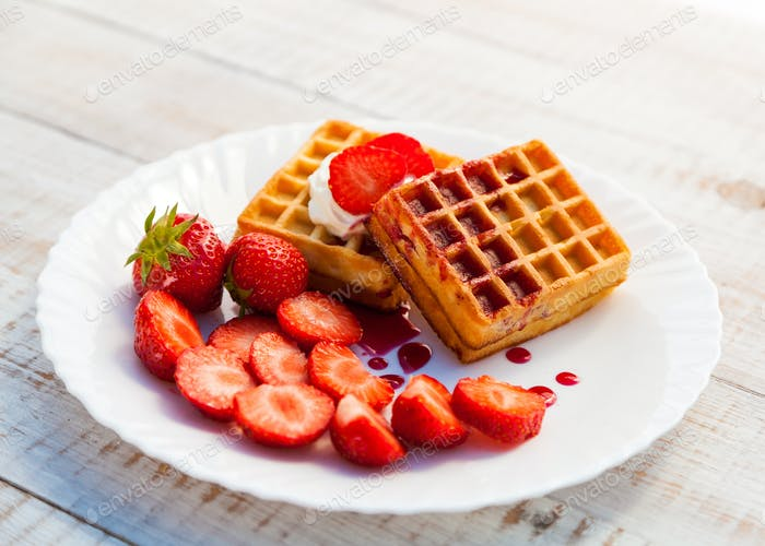 Strawberries and wafer