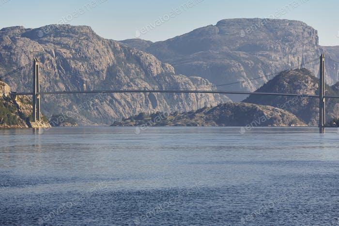 Norwegian fjord landscape. Hardanger bridge. Sorfjorden area. Visit Norway. Horizontal