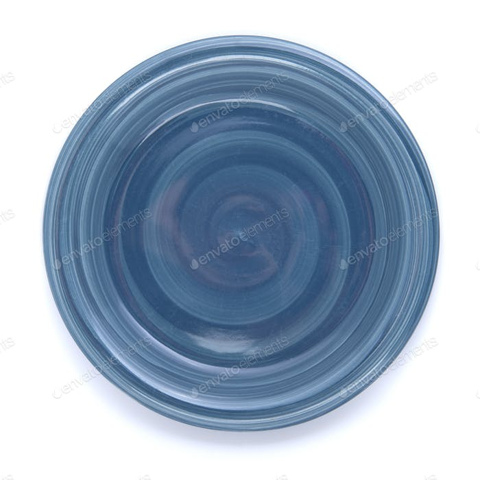 Empty plate blue on a white background.
