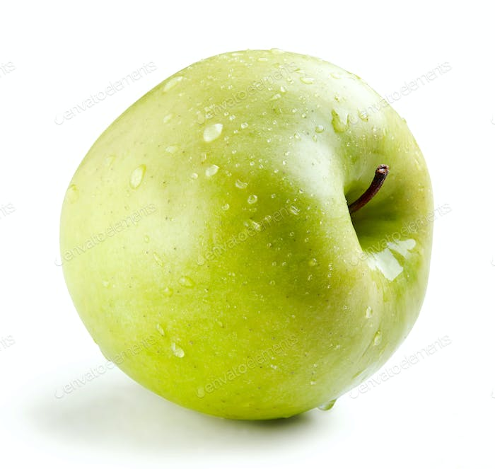 Wet green whole apple