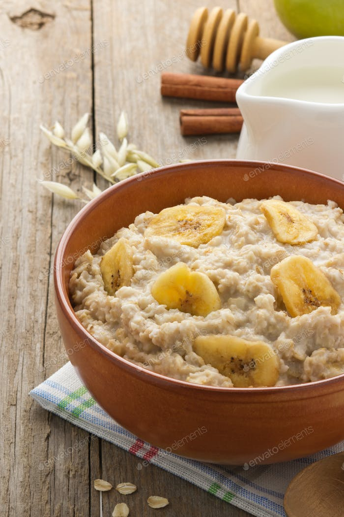 bowl of oatmeal on wood
