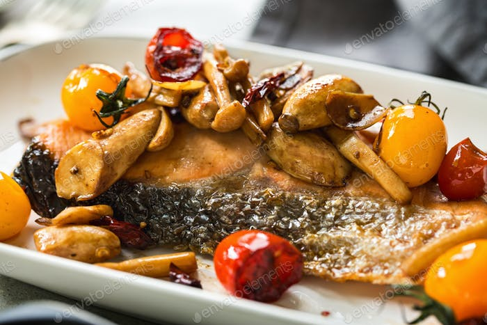 Grilled Salmon with Sautéed Mushrooms and Cherry Tomatoes