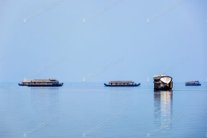 Houseboats in lake. Kerala, India