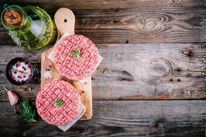 Raw ground beef meat burger steak cutlets