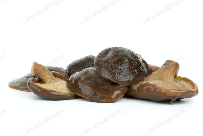Few marinated shiitake mushrooms