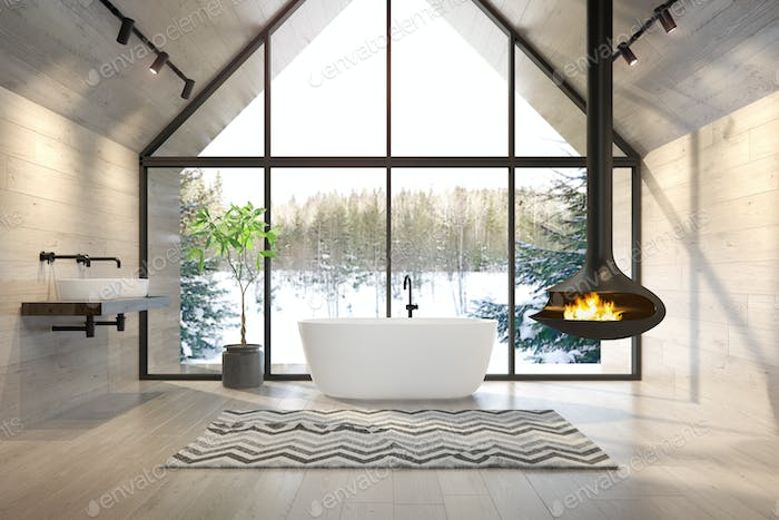 Interior bathroom of a forest house 3D rendering