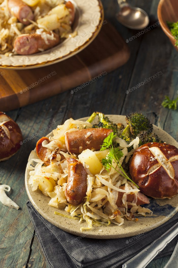 Homemade German Sausage and Sauerkraut