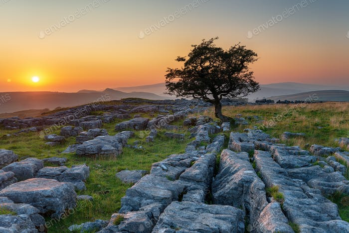 Beautiful sunset at the Winskill Stones