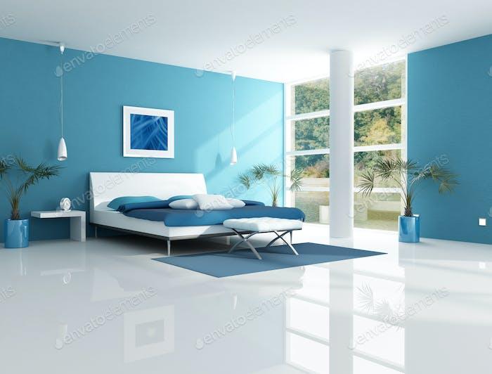 contemporary blue bedroom
