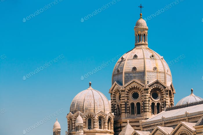 Domes of Cathedral de la Major in Marseille, France. Sunny summe