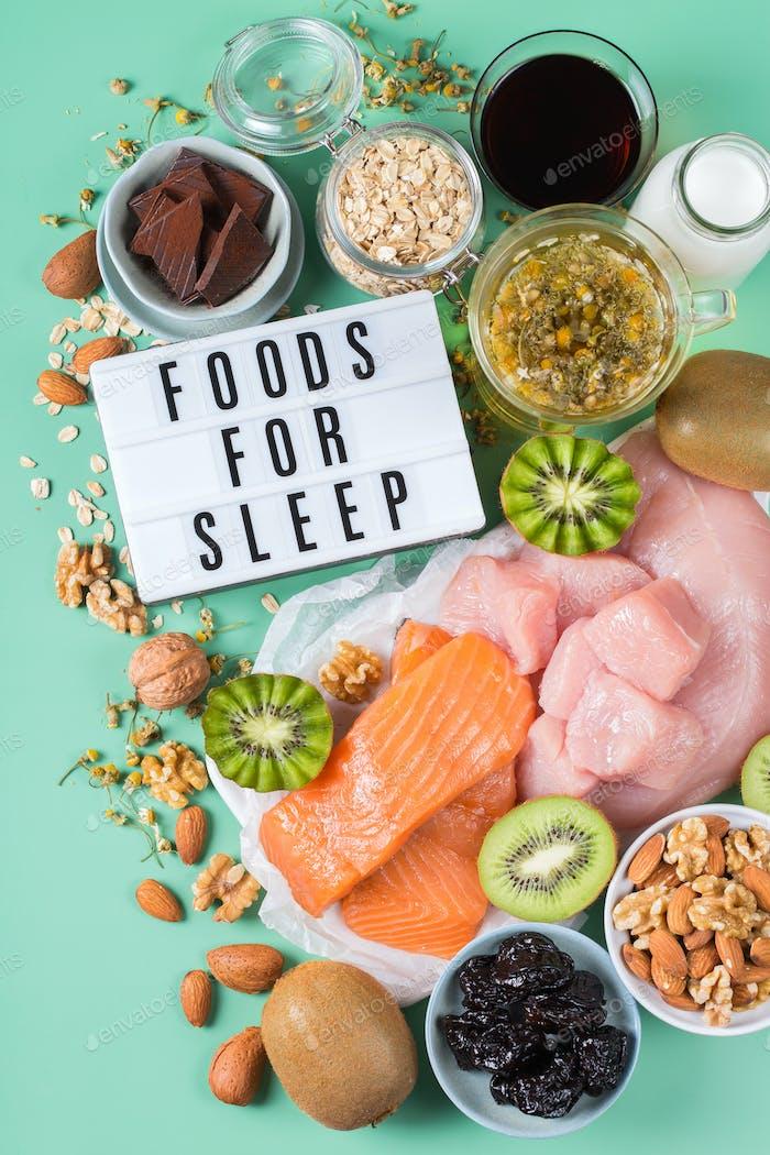 Foods rich in sleep promoting hormone melatonin and tryptophan