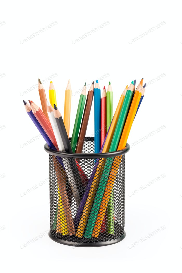 color pencils in metal pot isolated