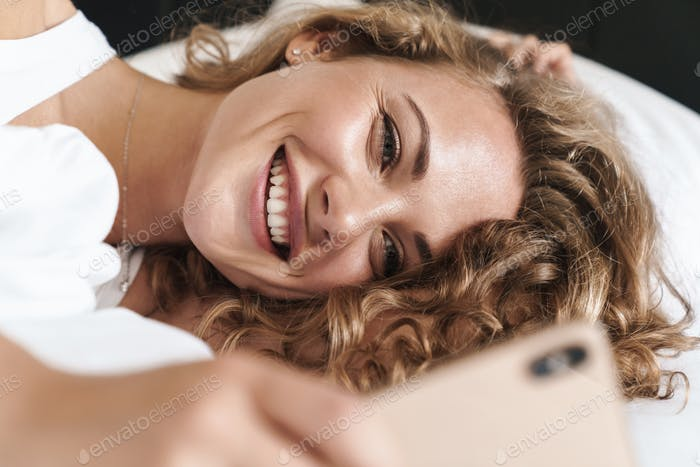 Close up of a beautiful young blonde haired woman