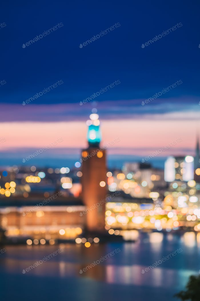 Stockholm, Sweden. Night Skyline Abstract Boke Bokeh Background.