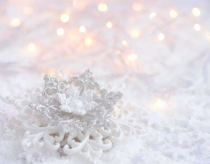 Icy background with Snowflake and Christmas lights, perfect for