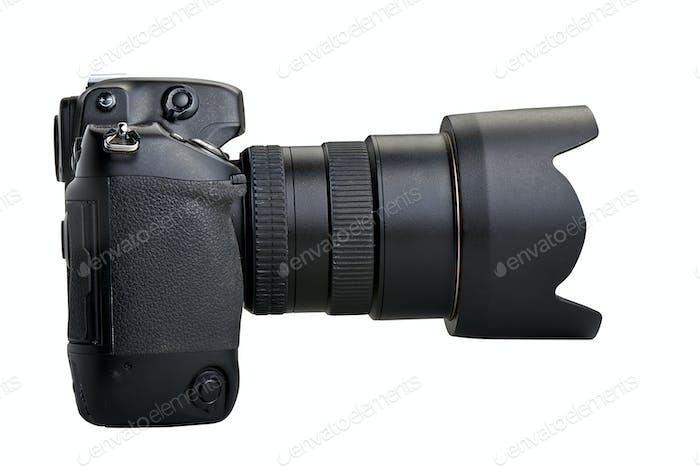 One black camera isolated on white background