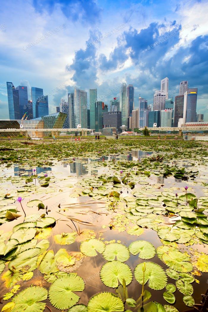 Skyline de Singapur y el distrito de Marina Bay