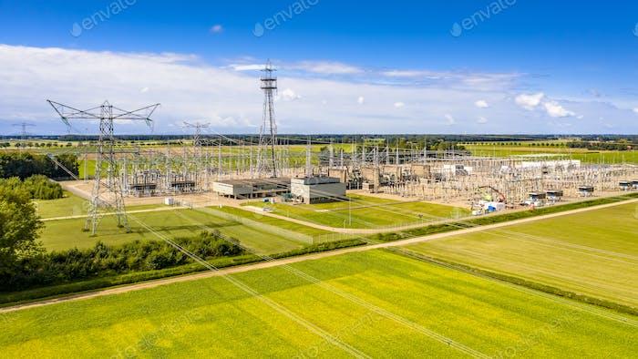 Modern high voltage transformation power station