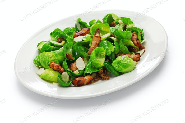 brussels sprouts salad isolated on white background