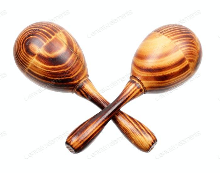 Two wooden maracas