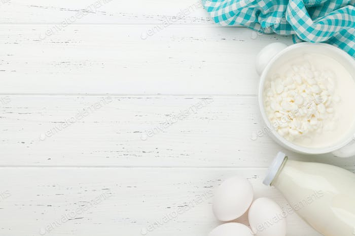 Dairy products, milk, cottage cheese and eggs