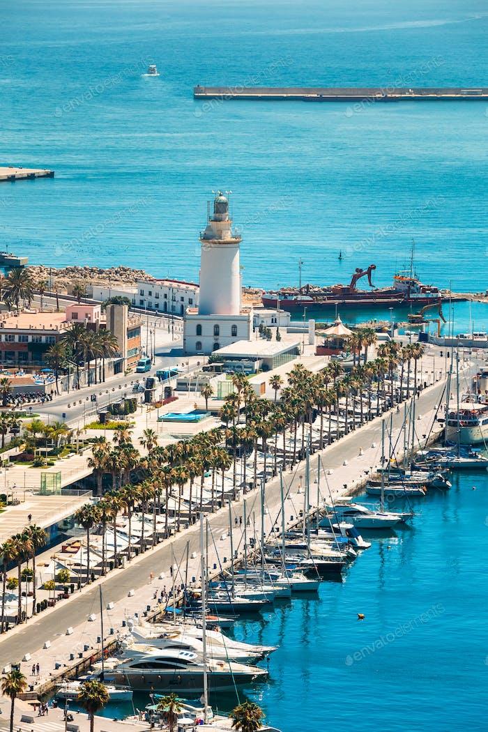Panorama Stadtbild Luftbild von Malaga, Spanien