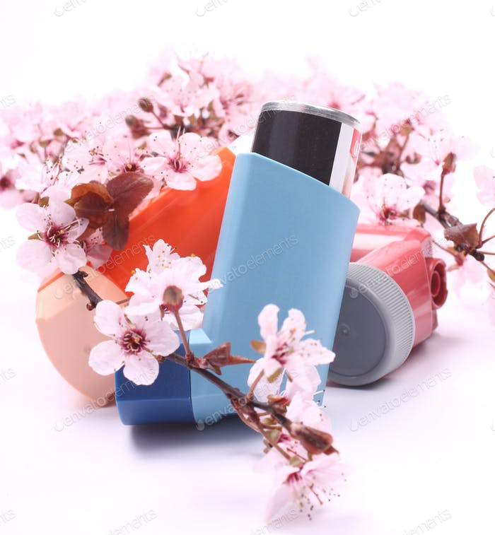 Asthma inhalers with blossoming tree branches over white
