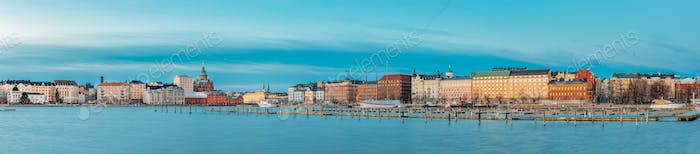 Helsinki, Finland. Panoramic View Of Kanavaranta Street With Uspenski Cathedral And Pohjoisranta