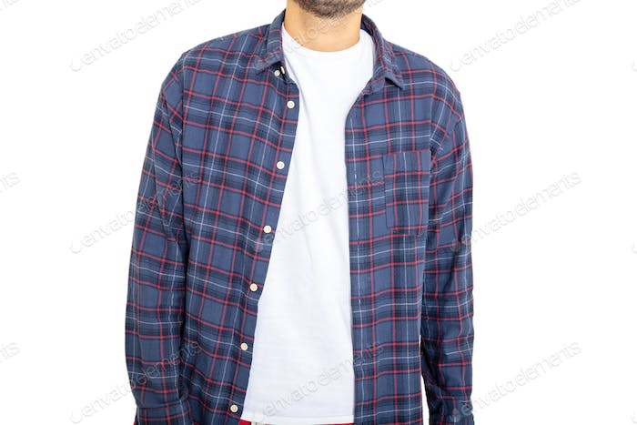Male body with a blank t shirt and checkered shirt isolated against white background, closeup view.