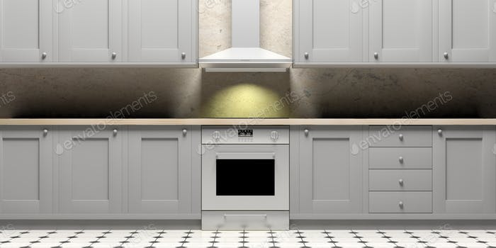 Kitchen Cabinets And Eletric Oven On Ceramic Tiles Floor Front View Ilration