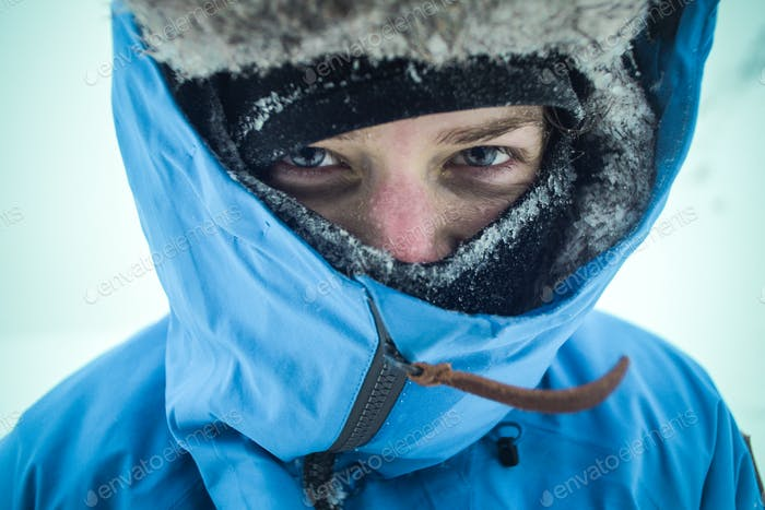 winter female hiker portrait