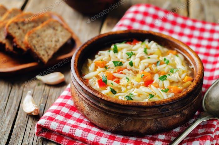 Turkey orzo vegetables soup