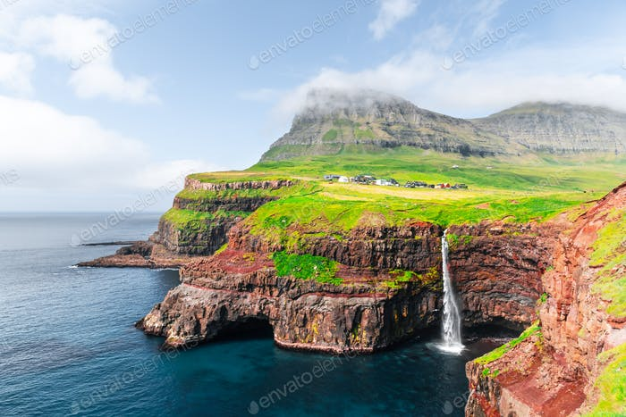 Mulafossur waterfall in Gasadalur, Vagar Island of the Faroe Islands.