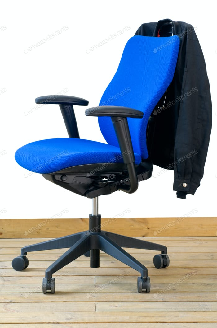 modern blue office chair with jacket on back