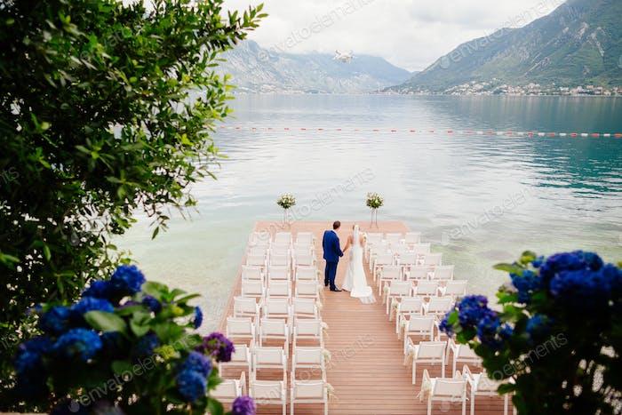 Hochzeitspaar am Ziel Hochzeitszeremonie