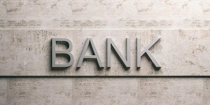 Bank sign on marble background. 3d illustration
