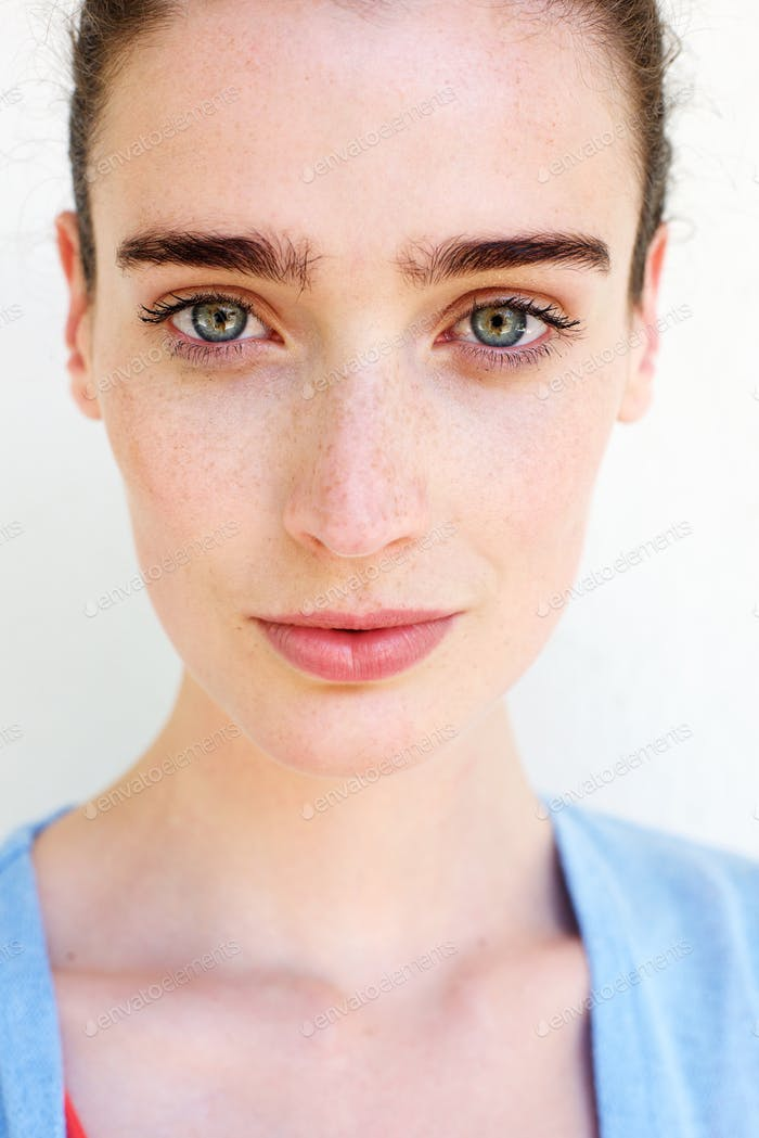 Healthy woman with freckles