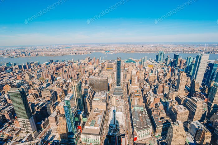 Blick auf New York City vom Empire State Building