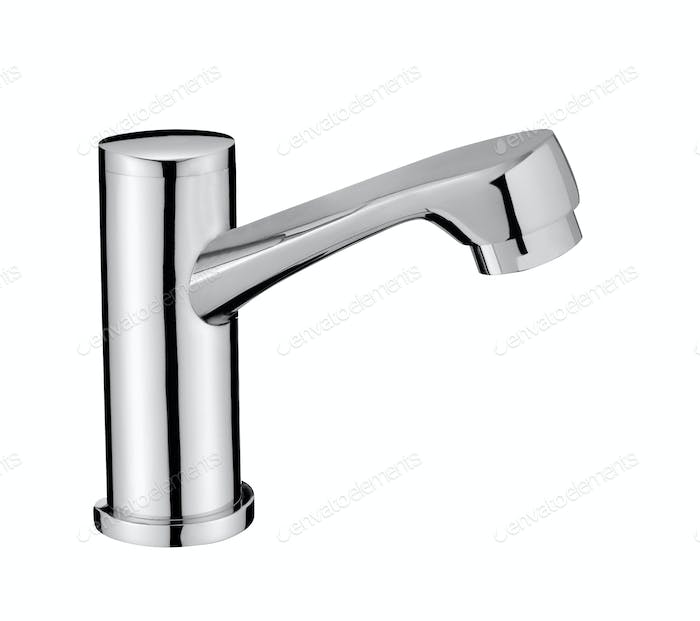 Chrome Water Faucet Isolated on White Background