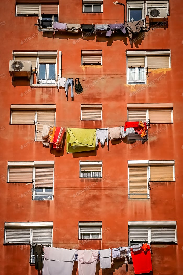 Laundry drying outside residential building