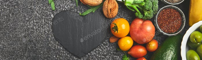 Banner of Heart shape of food health for heart.