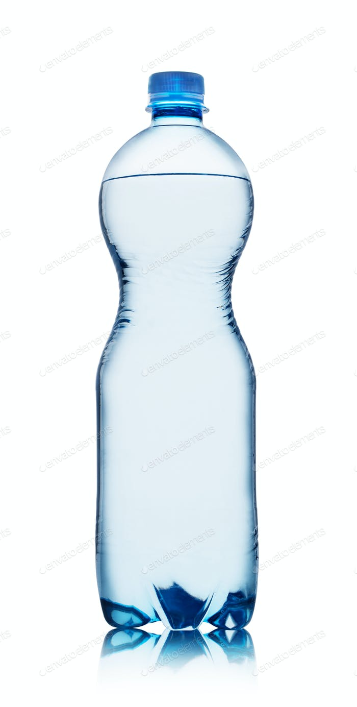 Plastic blue bottle with water