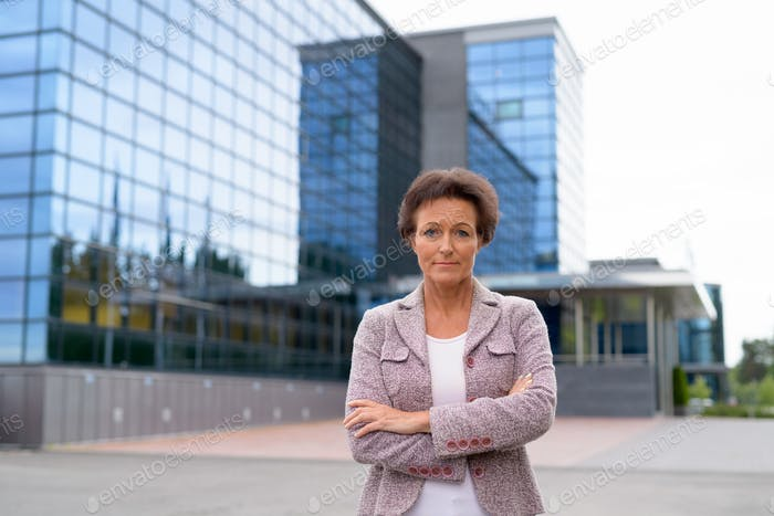 Mature Beautiful Businesswoman Against View Of The City