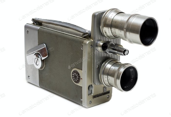 Old movie camera 16 mm with two lenses