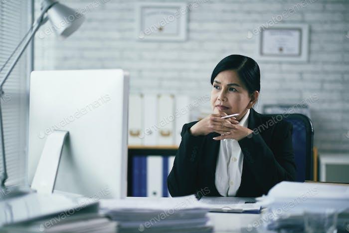 Pensive attorney