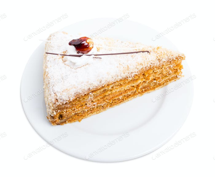 Delicious cake with crunchy sugar and cream.
