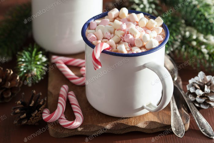hot chocolate with mini marshmallow candy cane